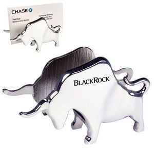 Chrome Metal Bull Memo & Card Holder