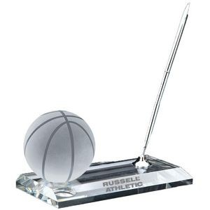 Crystal Basketball w/Pen Stand Set