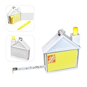 House Shape Measuring Tape w/Pad & Pen Keychain